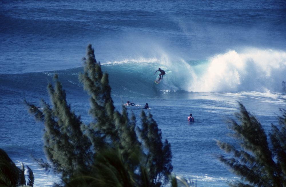 """""""USA Hawaii O'ahu, North Shore, surfing at Velzyland."""""""