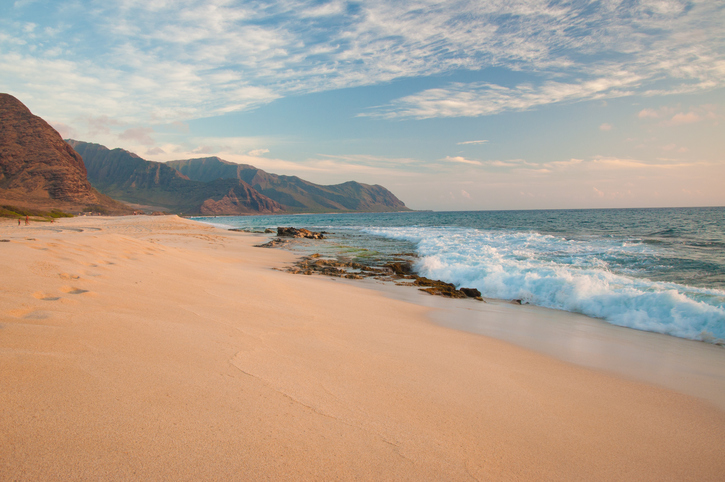 Tropical sandy beach in Hawaii island. Keawaula Beach, Yokohama Bay in Oahu