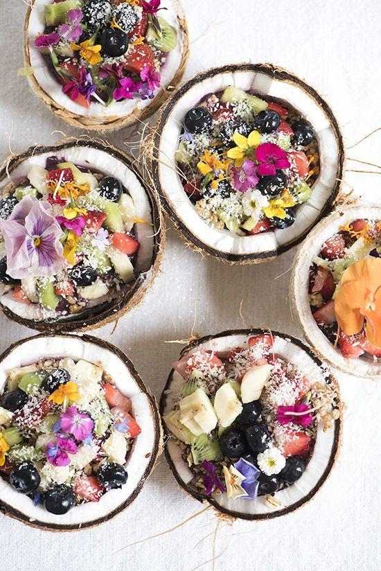 Super Bowl photo 2 fruit and flower coconut bowls