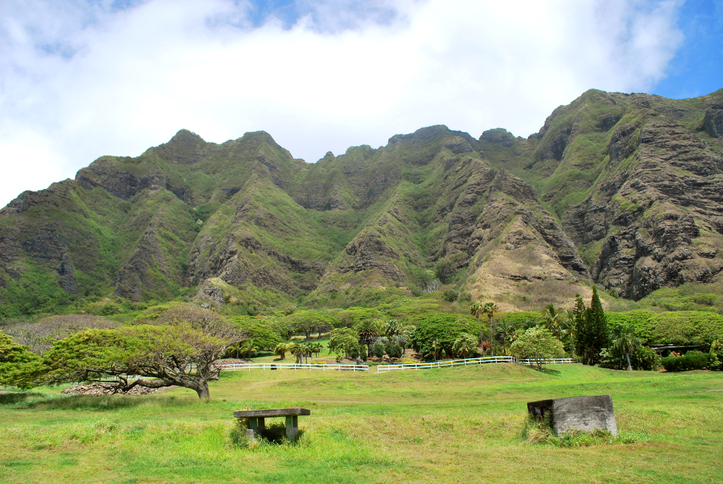 """Kualoa Valley is a part of Kualoa Ranch in Oahu, Hawaii. This place was sacred to ancient Oahuans. Kualoa Ranch is open for tourist activities such as horseback riding and hiking, but is best known as a film location for productions such as Jurassic Park, Godzilla, and Lost."""
